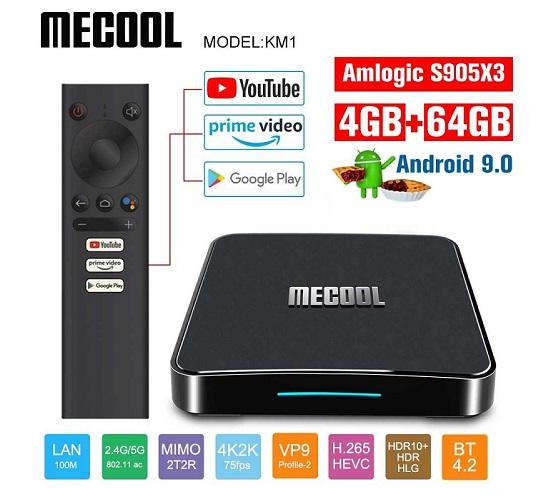 Mecool KM1 Ram 4G/64G DDR4 S905X3 Android 9 Chính Chủ, kèm Remote Voice