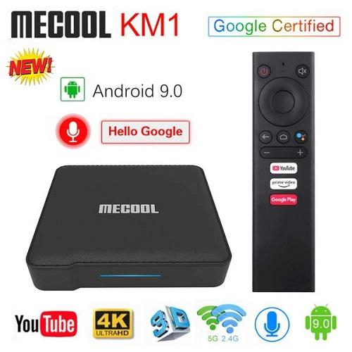 Mecool KM1 Ram 4G/32G DDR4 Android 9 Chính Chủ, Kèm Remote Voice